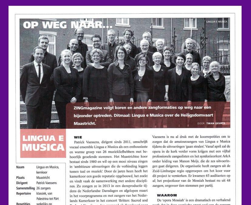 Lingua e Musica in ZINGmagazine, november 2017