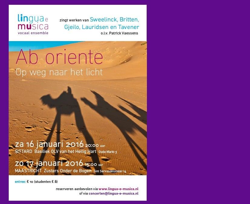 Concert Ab oriente 16 en 17 januari 2016